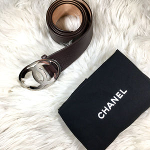 CHANEL Large Silver Buckle Chestnut Leather Size38
